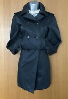 Karen Millen UK 8 Black Classic Elegant Raincoat Swing Trench Coat Jacket EU 36