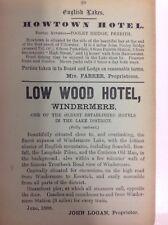 Low Wood Hotel, Windermere, 1887 Antique Advert, Original