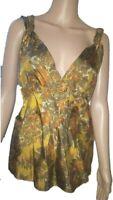 Jigsaw 100% silk sleeveless empire waist top/blouse/camisole-UK14,US12,F/B42,D40