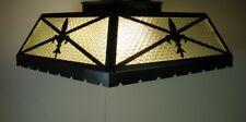 Vtg Large Ceiling Light Fixture Black Metal Fleur De Lis Lamp w/ Glass Panels