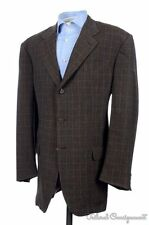 ISAIA Brown Plaid Check LINEN WOOL Mens Blazer Sport Coat Jacket - 44  L