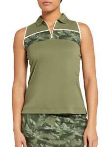 Slazenger Women's Clover Green Camo Colorblock Sleeveless Golf Polo Sz SMALL NWT