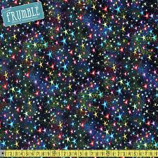 Timeless Treasures Fabric brillantes estrellas por metro Galaxia Espacio Estrella Solar Syst