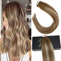 Sunny Tape in Hair Extensions Remy Human Hair Balayage Brown mix Blonde #6/60/6