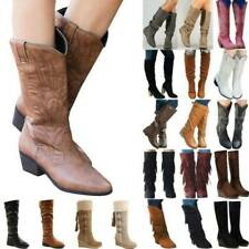 Womens Winter Outdoor Casual Mid Calf Boots Low Block Heel Booties Shoes Size
