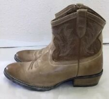 NEW Ariat Womens Unbridled Billie Cowboy Ankle Boots Brown Blue Leather 9.5