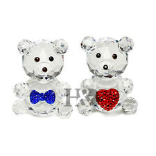 Cute Couple Bear Crystal Paperweight Figurines Birthday Ornament Wedding Gift