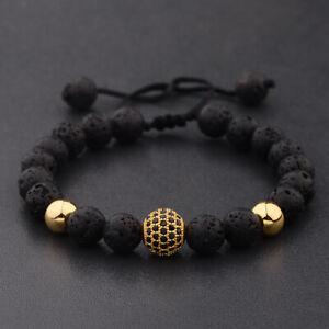 Fashion Men Round Black CZ Zircon Pave Lava Beads Weaving Adjustable Bracelets