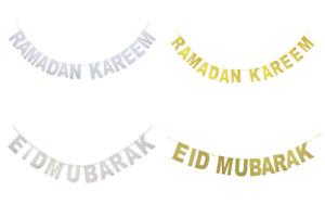 Ramadan Kareem Eid Mubarak Banner Bunting Decoration Muslim Islamic Decor Paper