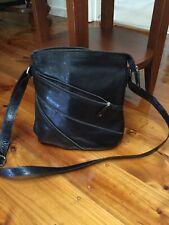 Women's Black Leather Crossover Handbag