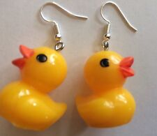 3D RUBBER DUCK Earrings Colorful Charm Ducky Yellow Resin Duckie Plastic USA