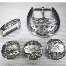 Vtg. Italian Belt Buckle Set Silver Pierced Etched Design Marked Made in Italy