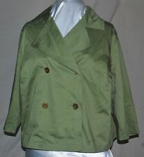 LIZ CLAIBORNE NEW YORK SO CHIC DOUBLE BR JACKET GOLD BUTTONS BACK PLEAT GREEN 1X