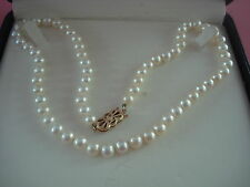 MIKIMOTO PEARL NECKLACE CLASSIC COLLECTION BASKET STYLE CLASP GOLD 14KT MINT