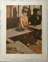 BEAUTIFUL VINTAGE LARGE WOMEN CAFE BAR PORTRAIT ART PRINT BY EDGAR DEGAS
