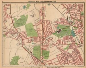 LONDON N. Muswell Hill Alexandra Park Wood Green Finchley Crouch End 1913 map