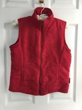 Columbia Red Full Zip Women's Sleeveless Vest Embroidered Floral Small EUC