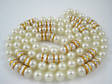 """Hand Knotted 8mm Glass Pearl 32"""" Strand Necklace Diamond Cut Etched Beads"""