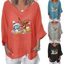 Womens Christmas Printed Baggy T-Shirt Blouse Xmas Casual Loose V-Neck Tops Tee