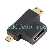 3 in 1 HDMI Female to Mini HDMI Male + Micro HDMI Male Adapter Connector Black A
