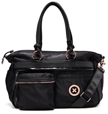 Authentic Mimco supernatural Black Baby Nappy Nylon LARGE Duffle Rose Gold 299