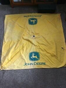 Vintage John Deere Tractor Canvas Umbrella Yellow 2 legged deer