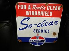 Antique style porcelain look Standard oil windshield dealer service sign NICE