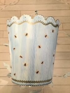 """Oval Tole Striped Waste Basket w/ Gold Accents and Bee Pattern - 10.5""""H x 9.5""""W"""