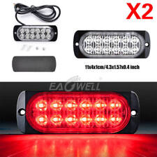 2PCS Red 12 LED Car Truck Emergency Beacon Warning Hazard Flash Strobe Light 36W