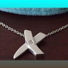 "Auth Tiffany & Co. Picasso ""X"" Pendant w/ diamond Necklace 16"" - Retired"