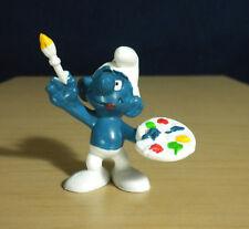 Smurfs Painter Smurf Artist Paint Brush Figure Vintage PVC Toy Figurine 20045
