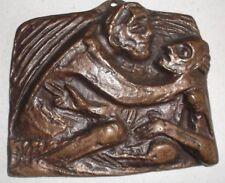 """Bronze Relief Bronzerelief """"Barmherziger Samariter"""" J. Krautwald ca 11,5x10cm"""