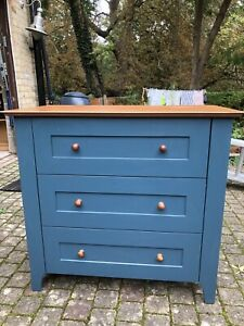 Heals chest of 3 drawers - Teal Blue, Good Condition