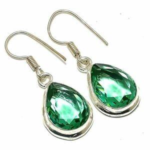 "Green Amethyst Gemstone Handi craft Style Jewelry Earrings 1.3""  qqq6"