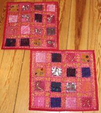 2 Kissenbezüge aus Indien handbestickt Pailletten Perlen pink rot orange 40 x 40