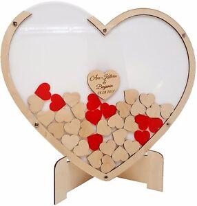 Hochzeit Gästebuch Alternative Hochzeitsgästebuch Herz aus Holz mit Holzherzchen