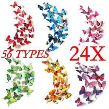 24X 3D Butterfly Sticker Art Design Vivid Decal Wall Stickers Home Decor Room G