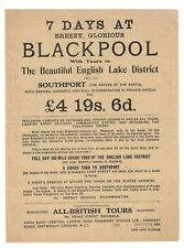 Blackpool Excursion Brochure circa late 940 - 1950 British tours Very good