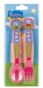 Peppa Pig 2 Piece Meal Time Plastic Cutlery Set Fork & Spoon ** New & Sealed **