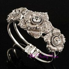 Textured Open Rose Flower Floral Silver Hinged Cuff Bangle w/ Swarovski Crystals