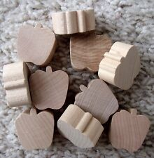 "10 New Unfinished Solid Wood 1/2"" Thick Small Apple Shapes - Ready To Paint"