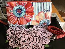 """Brighton Water Garden Floral Leather 7""""x4"""" Tech Wallet Wristlet Zip Around Phone"""