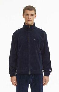Champion Velour Zip Through Sweater Men's Dark Blue Solid Activewear Sportswear