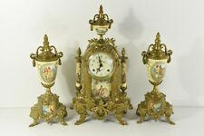 Set French Porcelain victorian clock Vases urns
