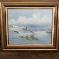 Original Oil by Neil Adamson Painting Beach Grassy Dunes Seagulls Seascape 16x20