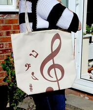Treble Clef Music Tote Bag in Beige - Music Themed Shopping Bag - Music Gift