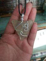 Green Sea glass necklace with Silver nickel wire design