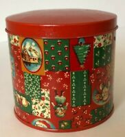 Vintage Christmas Storage Tin Container Red Round 1980 By Cranston Print Works