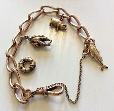 Fabulous Ladies Antique Heavy Solid 9ct Rose Gold Charm Bracelet & Superb Charms
