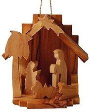 "2.6"" Christmas Nativity Scene Ornament Bethlehem Olive Wood Handcarved Holy Land"